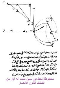 أحد نظريات ابن سهل في علم الهندسة مكتوبة بخط يده