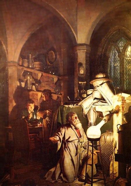 الكيميائي، يبحث عن حجر الفلاسفة بريشة جوسف رايت من دربي، 1771