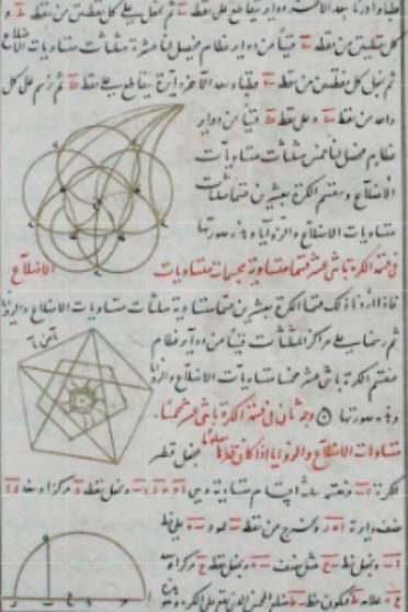 صفحة من كتاب فيما یحتاج إليه الصانع من أعمال الهندسة لأبي الوفاء البوزجاني