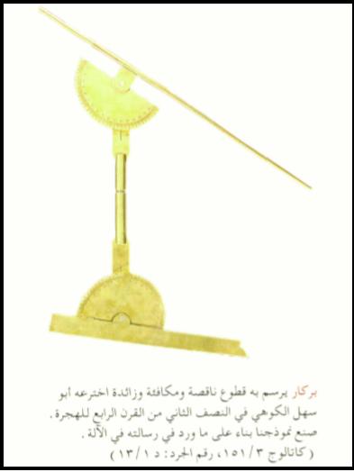 وصف مفصل لآلة البيكار (البركار) التام لأبي سهل القوهي